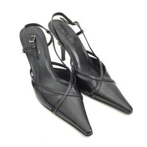 Aldo Black Leather Slingback Heels Strappy Slides